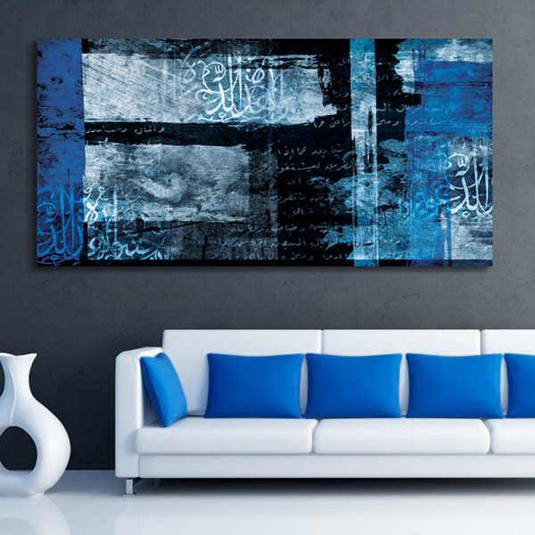 interesting tableau oriental abstrait noir et bleu with tableau bleu turquoise. Black Bedroom Furniture Sets. Home Design Ideas