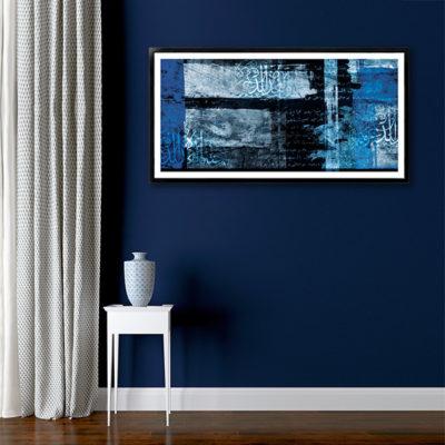 poster oriental u abstrait noir et bleu with tableau oriental pas cher. Black Bedroom Furniture Sets. Home Design Ideas